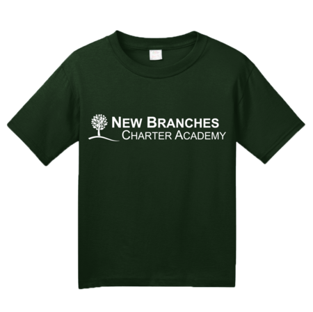New Branches White Logo Youth Forest Green Blank with Depth