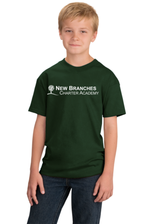 New Branches White Logo Youth Forest Green Stock Model Front 1
