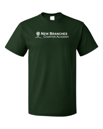 New Branches White Logo Unisex Forest Green Blank with Depth