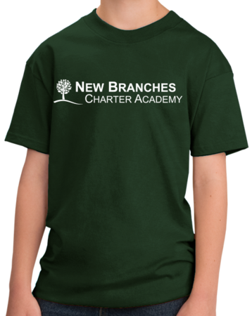 New Branches White Logo Youth Forest Green Stock Model Front 1 Thumb