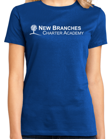 New Branches White Logo Ladies Royal Stock Model Front 1 Thumb