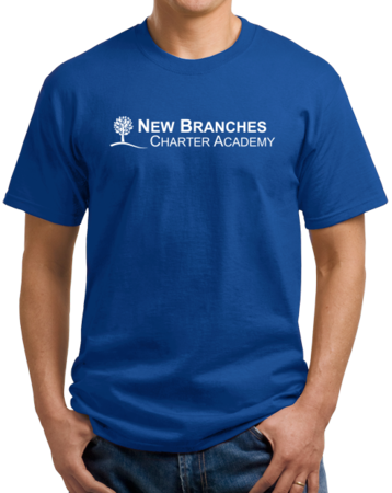 New Branches White Logo Unisex Royal Stock Model Front 1 Thumb