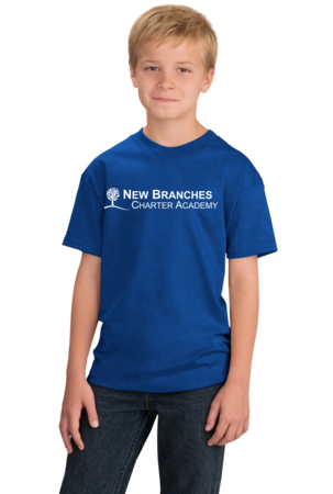 New Branches White Logo Youth Royal Stock Model Front 1