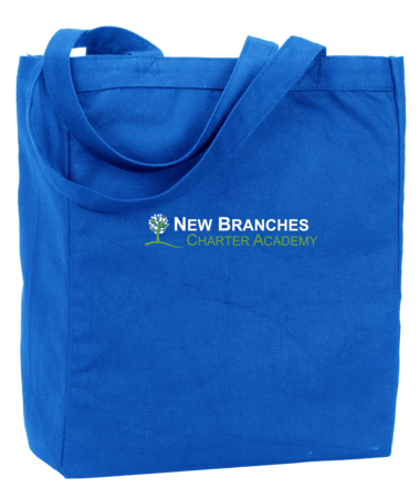 New Branches Green and White Logo Tote Royal Blank with Depth
