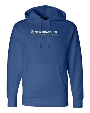 New Branches Green and White Logo Pullover Hoodie Royal Blank with Depth