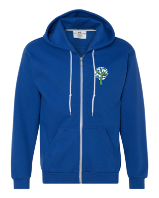 New Branches Green and White Logo Zip Hood