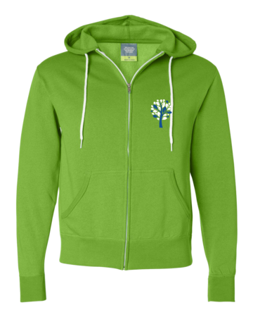 New Branches Blue and White Logo Zip Hoodie Lime Green Blank with Depth