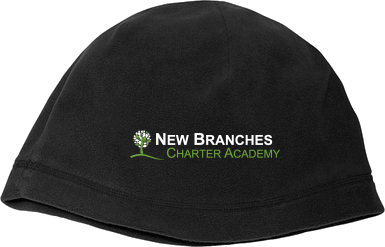 New Branches Logo Fleece Beanie Black Blank with Depth