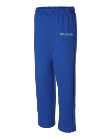 New Branches Logo Embroidered Adult Open Bottom Sweatpants Royal Blank with Depth