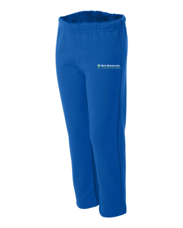 New Branches Logo Embroidered Youth Open Cuffed Sweatpant Royal Blank with Depth