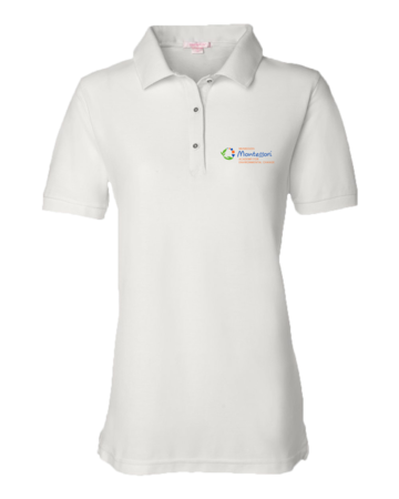 MMAEC Light Polo Ladies Pique Polo White Blank with Depth