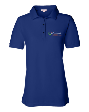 Muskegon Montessori Academy for Environmental Change Dark Polo Ladies Pique Polo Royal Blank with Depth