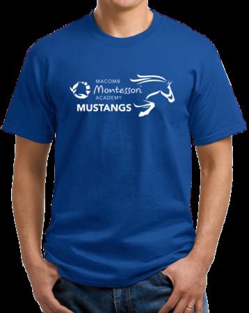 Macomb Montessori Academy White Mustang Unisex Royal Stock Model Front 1 Thumb