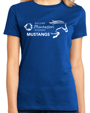 Macomb Montessori Academy Black Mustang Ladies Royal Stock Model Front 1 Thumb