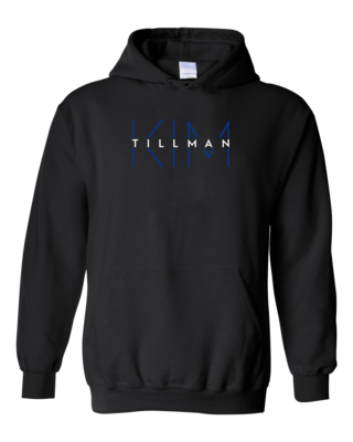 Kim Tillman White and Blue Logo Pullover Hoodie