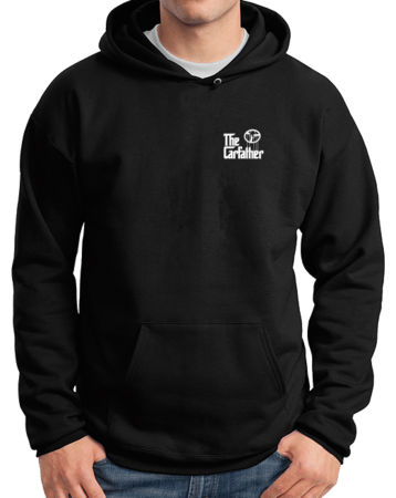 The Carfather Black Pullover Hoodie Black Stock Model Front 1 Thumb