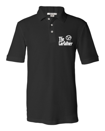 The Carfather Black Polo Unisex Pique Polo Black Blank with Depth