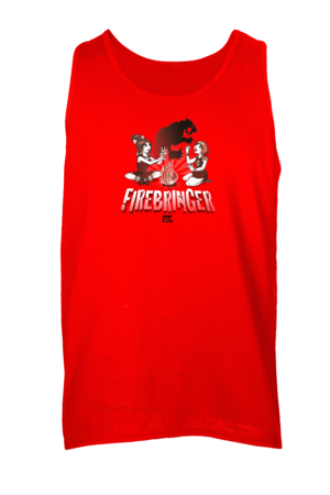 Firebringer Shadow Puppet Tank Top Red Blank with Depth
