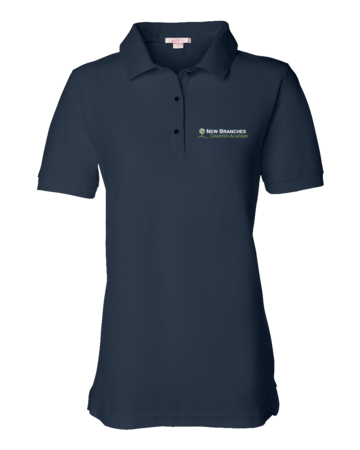 New Branches Logo Ladies Pique Polo Navy Blank with Depth