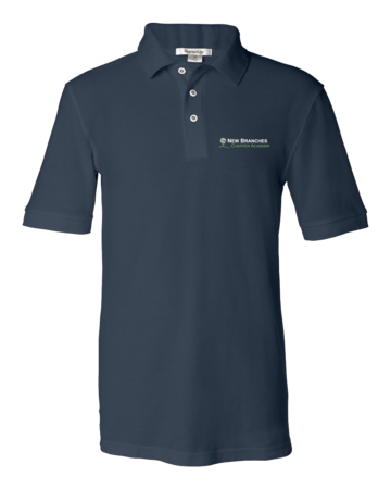 New Branches Logo Unisex Pique Polo Navy Blank with Depth