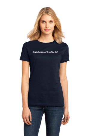 New Branches Deeply Rooted Ladies Navy Stock Model Front 1