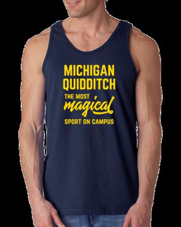 Michigan Quidditch Magical Sport Tank Top Navy Stock Model Front 1 Thumb