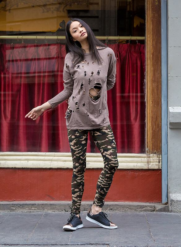 An oversized top this cool is a hole in one… or two or three! Pair it with camo pants for total undercover cool.