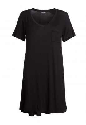 COFFEE NIGHT BASIC V-NECK TEE DRESS IN BLACK