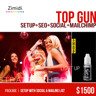Zimidi, Inc. - Ecommerce Designer / Developer / Setup Expert / Retail Expert - Top Gun adds mailing list setup and training to our most popular package.