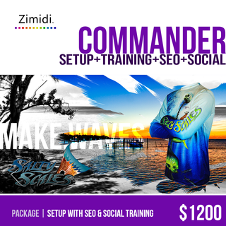 Zimidi, Inc. - Ecommerce Designer / Developer / Setup Expert / Retail Expert - Commander includes important SEO and social media setup help, plus additional products and graphics.