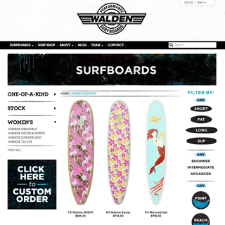 designRACY - Ecommerce Designer / Developer / Setup - Walden Surfboards : www.waldensurfboards.com