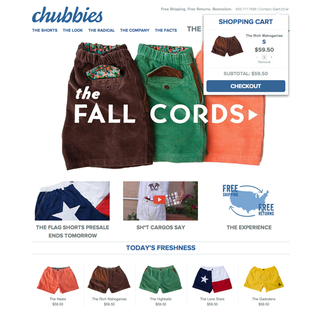 designRACY - Ecommerce Designer / Developer / Setup - Chubbies Shorts : www.chubbiesshorts.com