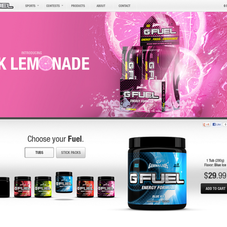 Custom Shopify Design and API integration for G-Fuel, a popular energy drink for gamers.