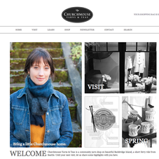 Home page of Churchmouse Yarns &amp; Teas, a lifestyle store centered around knitting and tea.