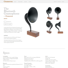 An e-commerce site for a bluetooth gramophone