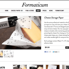 Shopify site for Formaticum Cheese Paper.