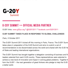 US Delegate & Official Media Partner of G20-Y Summit 2011