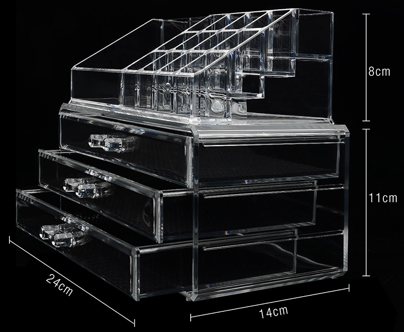 Acrylic box canada : Makeup cosmetics organizer acrylic transparent drawers