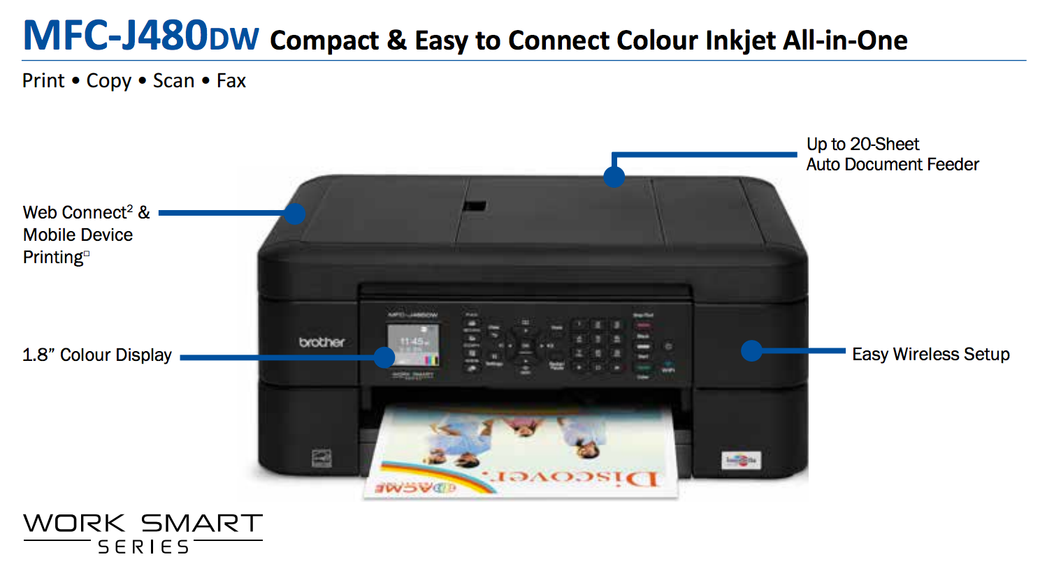 Brother MFC-J480DW All in one Wireless Colour Inkjet Printer Copy Scan Fax | eBay