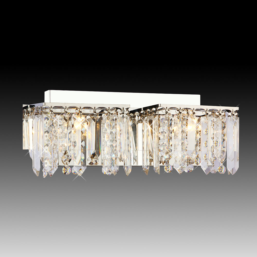 Luxury Crystal Chrome Finish 2 Lights Wall Lamp Modern Lighting For Bathroom