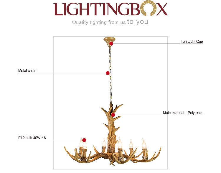 Deer Antler Chandelier 6 Lights At Lightingbox Com Canada