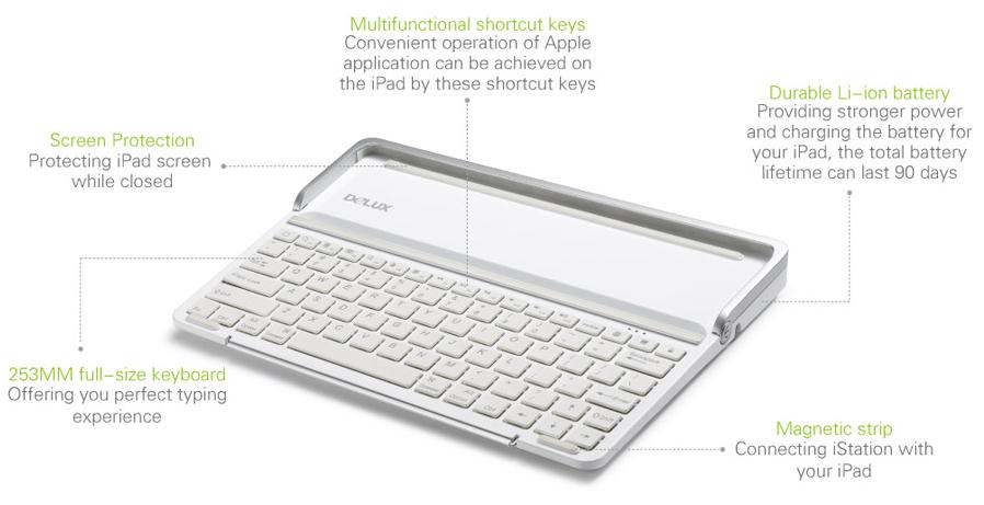 delux u00ae istation mfi ipad air  2  3  4 bluetooth keyboard with multimedia sharing platform  high