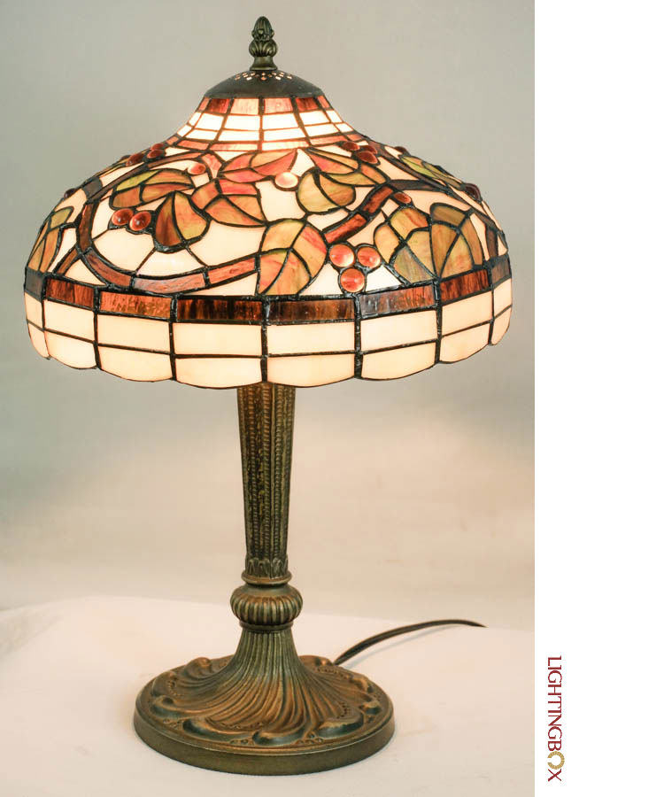 tiffany glass shade bronze base 1 lights table lamp at. Black Bedroom Furniture Sets. Home Design Ideas