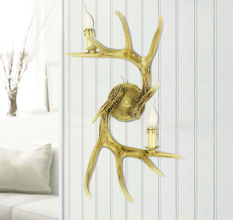 Deer Antler Lighting Collection 2 Lights Wall Lamp
