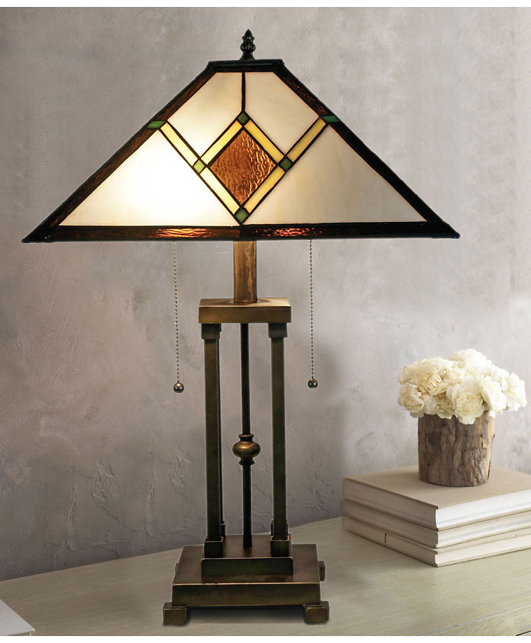 tiffany glass shade bronze base 2 lights table lamp at. Black Bedroom Furniture Sets. Home Design Ideas