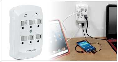 [Primecables.com]$6.99 PrimeCables® 6-Outlet Wall Mount Surge Protector with Dual USB Charging Ports