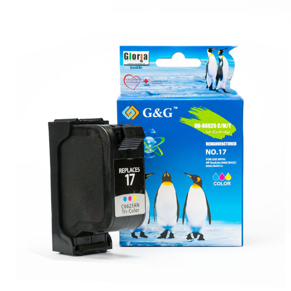 HP 17 Remanufactured Color Ink Cartridge (C6625A/D) - G&G