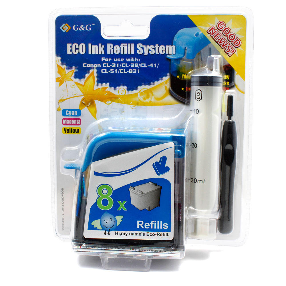 Eco-Refill Canon CL-31/41/51 Color Ink Cartridge Refill Kit - G&G