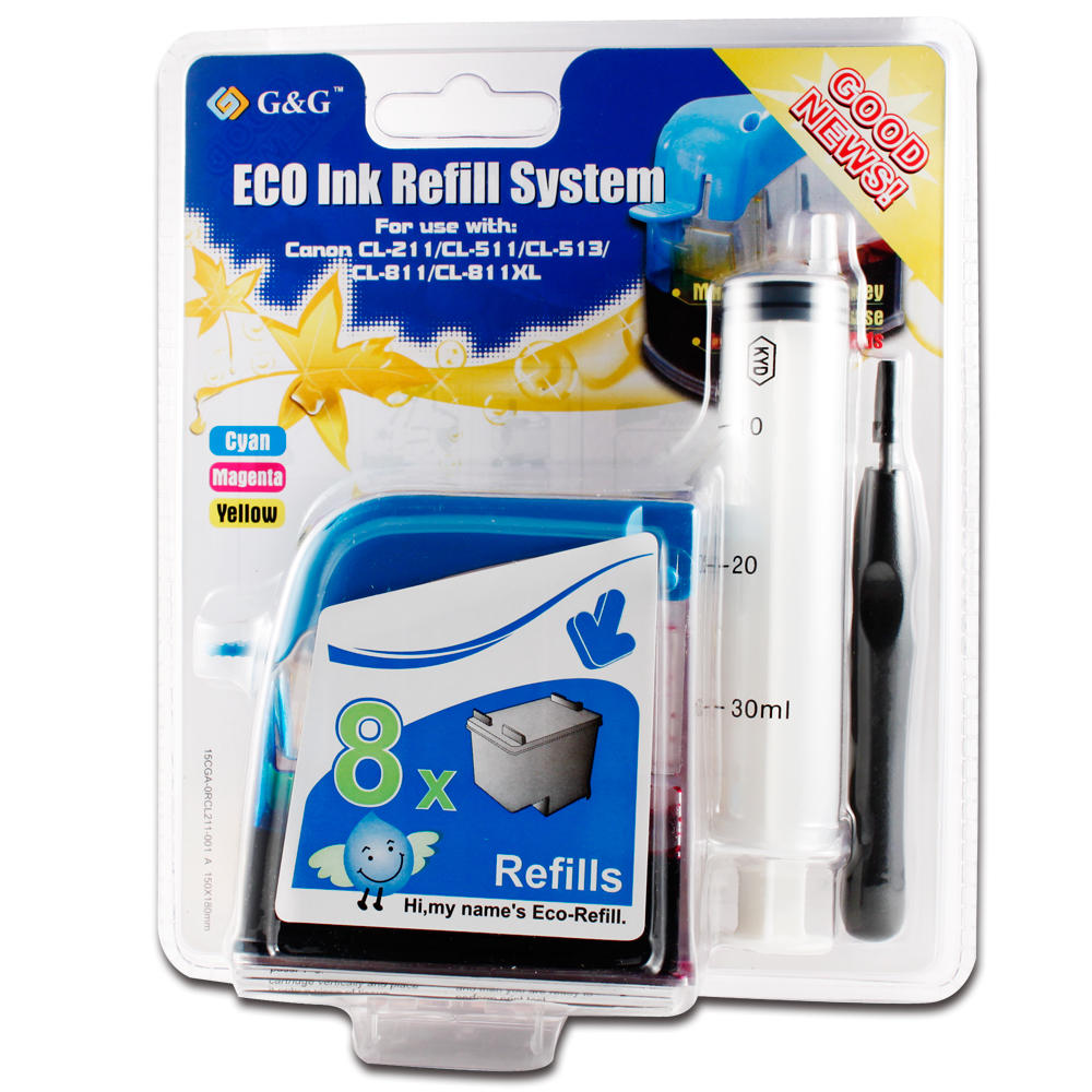 Eco-Refill Canon CL-211 Color Ink Cartridge Refill Kit - G&G
