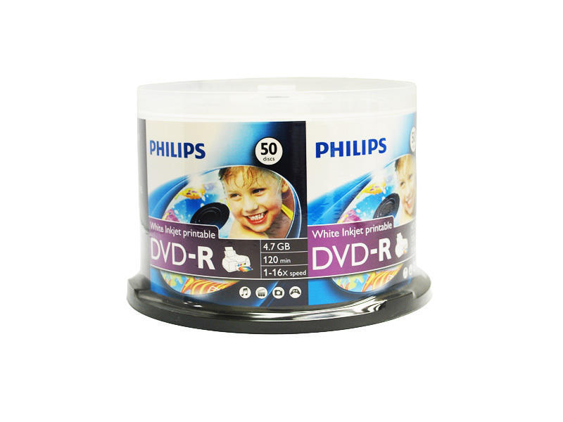 Philips DVD-R 16x 4.7GB 50 Pack Inkjet Printable